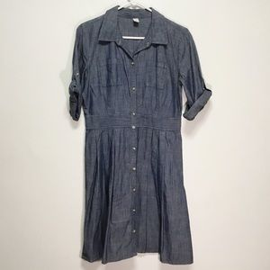 Old Navy Chambray Midi Button Up Dress